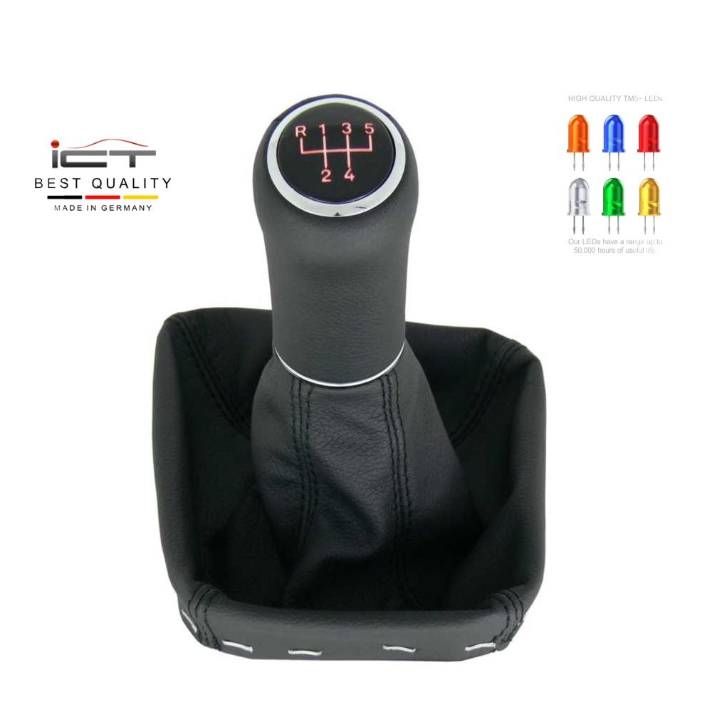 ICT Schaltknauf passend für BMW 5er E32  E34 Schaltsack beleuchtet Leder A 10